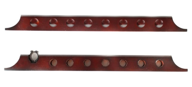 7 Cue 1 Bridge Pool Table Billiard Wall Rack Mahogany Finish